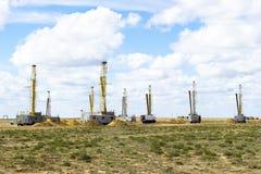 Uranium extraction. Uranium industry. Constructions and mechanis. Uranium production. Working wells for uranium production Royalty Free Stock Images