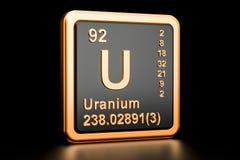 Uranium U chemical element. 3D rendering. Uranium U, chemical element. 3D rendering isolated on black background stock illustration