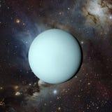 Urano do planeta do sistema solar na rendição do fundo 3d da nebulosa Elementos desta imagem fornecidos pela NASA ilustração do vetor
