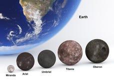 Urano moons nel confronto di dimensione con terra con i titoli Fotografie Stock Libere da Diritti