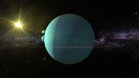 Uranus 3D text around Planet Uranus stock video