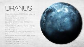 Uranus - hög upplösning Infographic framlägger en Arkivbild