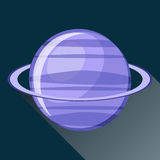 Uranus planet icon. With long shadow. Space view and texture map of  the globe Uranus. Solar system. Cartoon vector illustration in flat style Stock Photography