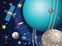 Uranus Planet in the Space. Cartoon planet Uranus in the space with stars and shuttles Stock Images