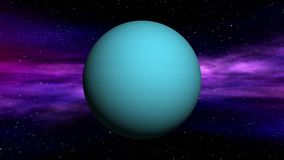 Uranus on space nebula background. Movement in outer space of Uranus on abstract nebula background. Seamless loop 3D animation stock video