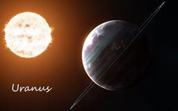 Uranus sur le fond de Sun Système solaire La science-fiction abstraite Des éléments de l'image sont fournis par la NASA photos stock