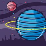 Uranus and venus planets in the galaxy space. Vector illustration Royalty Free Stock Image