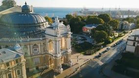 Urarinian de meeste interessante steden Odessa Opera en Ballettheater de Oekraïne Lucht Videolengte culturele stad stock footage