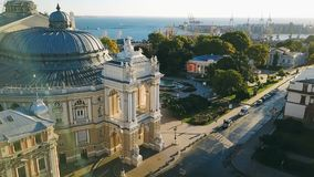 Urarinian most interesting cities. Odessa Opera and Ballet Theater Ukraine. aerial video footage. city cultural. Sightseeing. central facade. Sunrise. Morning stock footage