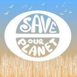 uratować naszą planetę Plakaty malujący planeta, ptaki i literowanie, royalty ilustracja