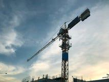 Żurawia i budowy plac budowy Obrazy Royalty Free