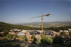 Żurawie ładują przewożenie budynku budowę Obrazy Stock