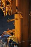 Żurawie i pracownik Fotografia Stock