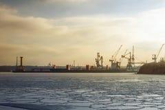 Żurawie i statek Zdjęcie Royalty Free