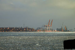 Żurawie port Obrazy Royalty Free