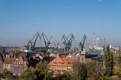 Żurawie w Gdansk stoczni obraz stock