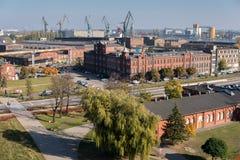 Żurawie w Gdansk stoczni zdjęcia royalty free