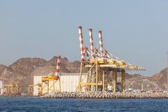 Żurawie w porcie muszkat, Oman Zdjęcia Stock