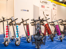 URB-E Sport Foldable, Electric Scooters. DETROIT, MI/USA - JANUARY 12, 2017: Several URB-E Sport foldable, electric scooters at the North American International Stock Image
