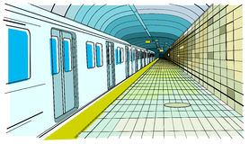 Urban 11. An inside of a subway station with the train arriving Stock Image