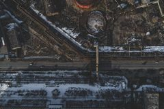 Urban abandoned factory. Shot with a drone. Bird`s eye - Global Warming stock images