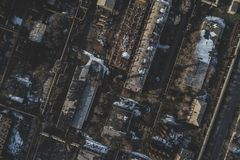 Urban abandoned factory. Shot with a drone. Bird`s eye - Global Warming royalty free stock images