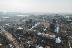 Urban abandoned factory. Shot with a drone. Bird`s eye - Global Warming royalty free stock photos