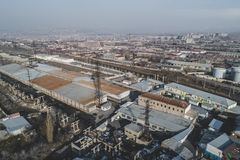 Urban abandoned factory. Shot with a drone. Bird`s eye - Global Warming royalty free stock photo