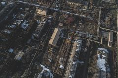 Urban abandoned factory. Shot with a drone. Bird`s view - Global Warming stock photos