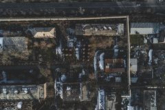 Urban abandoned factory. Shot with a drone. Bird`s eye - Global Warming stock photos