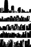 Urban abstract designs. Illustration of black and white silhouettes of city buildings Stock Illustration