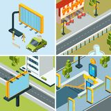 Urban advertising boards. Outdoor placard led panels billboards at streets landscapes vector isometric concept pictures