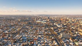 Urban aerial view of Dnipro city skyline. Winter cityscape background. royalty free stock photo