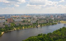 Urban aerial view photo from drone of cityscape. Urban aerial view photo from drone of cityscape, skyline and coastline of Dnieper River near Rusanivka island royalty free stock images