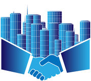 Urban agreement. Sign of urban agreement with handshake Stock Photo