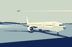 Urban airport. Vector illustration of a detailed airplane on the urban airport scene.  Retro style Stock Photo