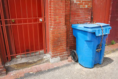 URBAN ALLEY TRASH CAN Stock Image