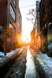 Urban Alley in Winter Stock Photos