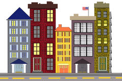 An Urban American Neighborhood. An illustration of an American city block made up of older high rise buildings, either residential or commercial properties Royalty Free Stock Images