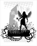Urban angel. Girl with wings on the grunge urban background Royalty Free Stock Images