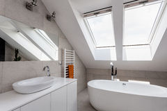 Urban apartment - bathroom on the attic Stock Image