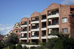 Urban Apartment Building, Sydney, Australia. Urban Brick Wall Apartment Building In Sydney, Australia royalty free stock images