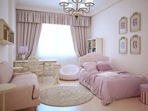Urban apartment - cute pink girl's room Royalty Free Stock Photography