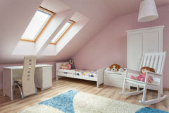 Urban apartment - cute room. Urban apartment - cute girl's room with white furniture Stock Photography