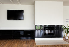 Urban apartment - modern fireplace Stock Images