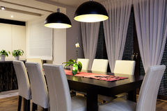Urban apartment - Wooden table Royalty Free Stock Images