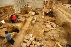 Urban Archaeology. Site. Archaeological excavations in Downtown Beirut, Lebanon that show continuous occupation from pre-historic times to present day Stock Images
