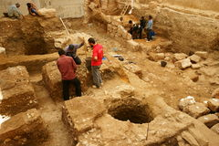 Urban Archaeology. Site. Archaeological excavations in Downtown Beirut, Lebanon that show continuous occupation from pre-historic times to present day stock photography