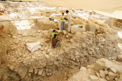 Urban Archaeology. Site. Archaeological excavations in Downtown Beirut, Lebanon that show continuous occupation from pre-historic times to present day Royalty Free Stock Images