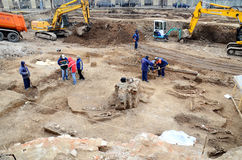 Urban Archeology - Bucharest. Works on an underground parking in central Bucharest were stalled after workers came across 150 human skeletons, walls of an old Royalty Free Stock Photo
